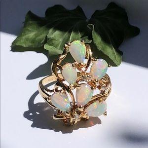 Jewelry - 14K Yellow Gold Opals & Diamonds Ring